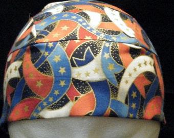 Red, White, Blue, Gold Stars Skull Cap, Chemo, Hats, Liner, Do Rag, Biker, July 4th, Head Wrap, Hair Loss, Bald, Surgical Cap, Handmade