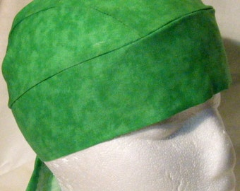 Green Skull Cap, Hats, Chemo Cap, biker, Do Rag, Head Wrap, Helmet Liner, Motorcycle, St Patrick's day, hair loss, bald, Handmade, Alopecia