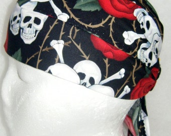 Black Skull Cap w Red Roses & White Skulls, Chemo Cap,Head Wrap, Biker, Hats, Motorcycle, Do Rag, Bones, Bald, Hair Loss, Surgical, Handmade
