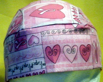 Pink Cancer Chemo Cap, Skull Cap,women,biker,hope,care,pink ribbons,kids,hearts, DoRag, Bandana,Motorcycle,Hats,Head Wrap, Head Cover, Bald
