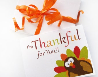 Thanksgiving Card set, Thanksgiving Turkey Card, I am Thankful for you Card  A357