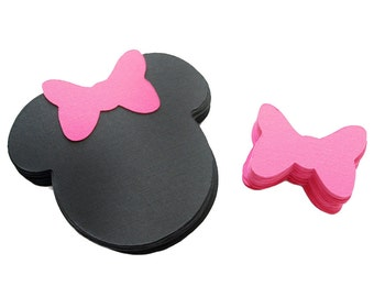 24 Minnie Die Cut, Minnie Mouse Die cuts, (4 x3.75 inches) in black, Minnie mouse  with hot pink bow  A206