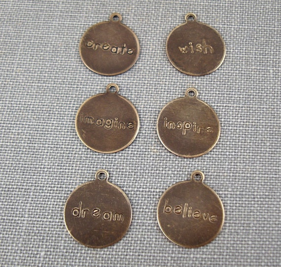 Small Vintaj Natural Brass Round Rustic Tag Charms 12mm x 15mm - 6 Pieces