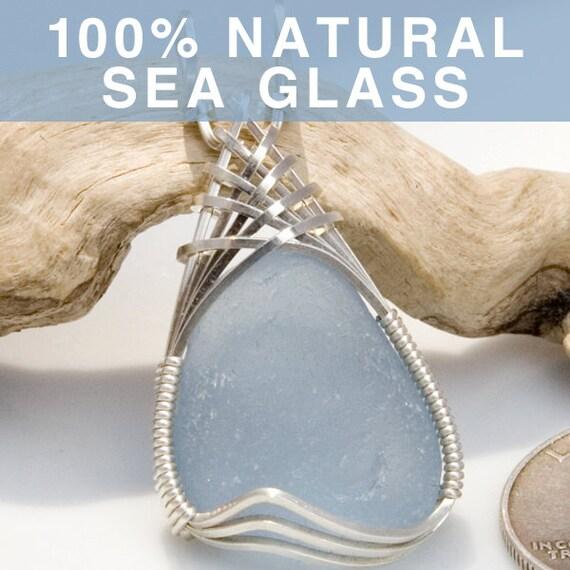 Soft Blue Sea Glass Jewelry Pendant, English Beach Glass