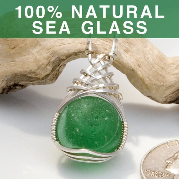 Green Marble Sea Glass Jewelry Pendant, English Beach Glass