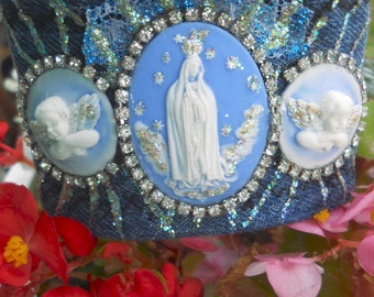 Virgin Mary Our Lady of Fatima and  Angels Cameo Denim Cuff Bracelet