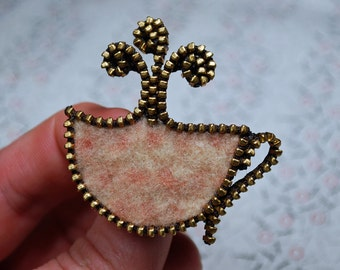 Zipper/Recycled Felted Wool Sweater Coffee Cup Zipper Pin/Brooch