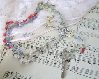 Beaded Rosary, christian jewelry catholic jewelry prayer beads cross madonna first communion baptism wedding birthday new baby christening