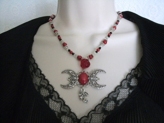 Dragons Blood Triple Moon Necklace, wiccan jewelry gypsy goddess witch pagan wicca witchcraft metaphysical magic mystic druid occult new age