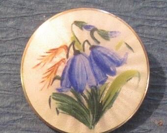 Norway Flower Enamel Brooch Vintage Norway Sterling  And Enamel Blue Bell FlowerBrooch By Opro.