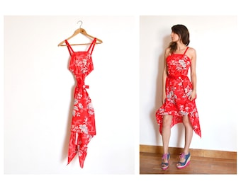 Womens Vivienne red floral backless dress with belt