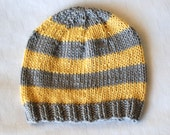 Grey Yellow Sporty Striped Kids Hat in Cotton