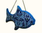 Wood Fish Art Wall Hanging Decopage Style 7.5 inch Blue Nautical