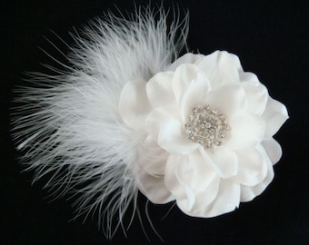 Bridal White Hair Flower with whispy feathers and rhinestone centerpiece / feather flower hair clip / bridal flower head piece