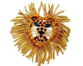 Vintage Giant Huge Shaggy Mesh Metal Lion Rhinestone Brooch Pin or wear as a Pendant