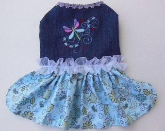 Dragonfly Embroidered Dress for Small Dog.
