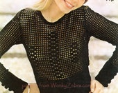 Crochet Mesh Blouse Vintage PDF Pattern 335 from WonkyZebra 5284