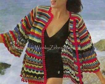 Vintage Crochet Stash Buster Cover Up Pattern PDF 442 from WonkyZebra