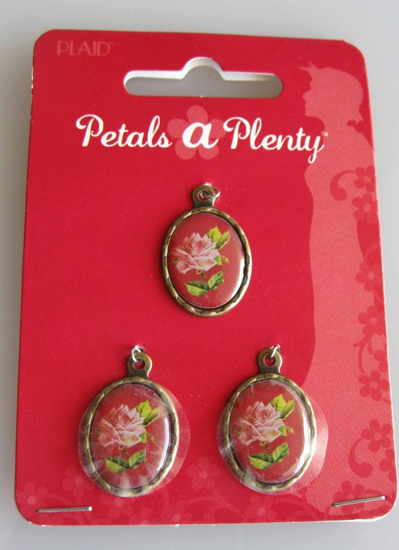 Pink Roses Charm on Red/ Oval Charms By Petals A Plenty