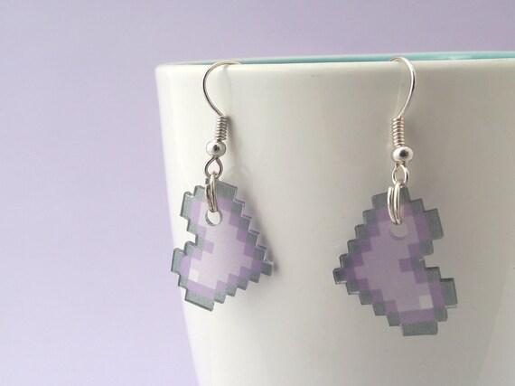 Purple 8-bit Pixel Heart Earrings