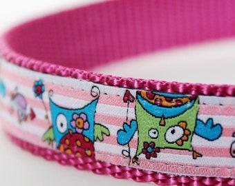 Pretty Pink Owls Dog Collar, Adjustable Pet Collar, Raspberry girl collar, Ribbon Dog Collar