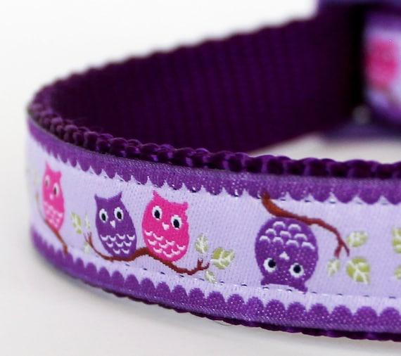 Pair of Owls Dog Collar in Purple, Lavender, Adjustable Pet Collar, Ribbon Collar