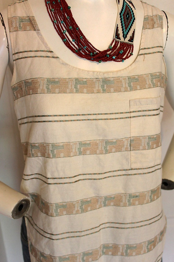 1980's Aztec pastel button-tailed patterned high cut southwestern Navajo Indian hipster boho sleeveless pocket shirt tank top women's sz M