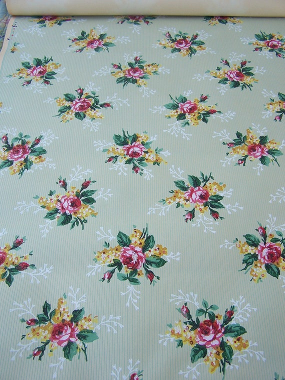 c1920s Vintage Wallpaper RED Roses Motif and celery green ticking pattern Shabby Cottage Decor Bouquets Decoupage Framing Mixed Media Art