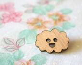 mini cloud wooden brooch