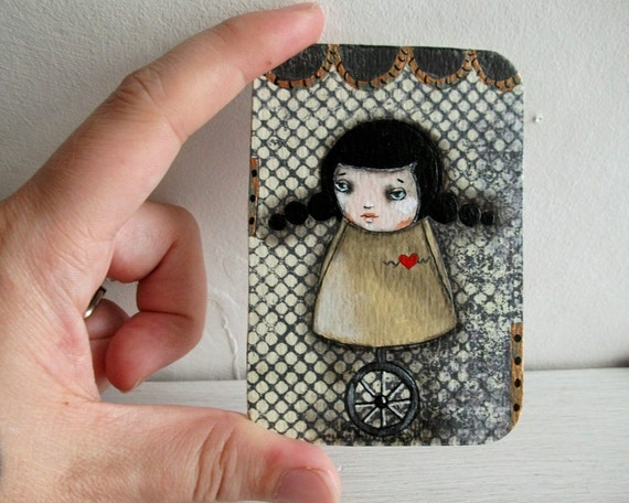 whimsical art ACEO Original mixed media girl steampunk folk art painting - Unibot