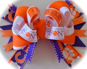 March Madness Adult Womens Ladies Custom Boutique College FOOTBALL BASKETBALL Girls Hair Bow Clemson Tigers  University