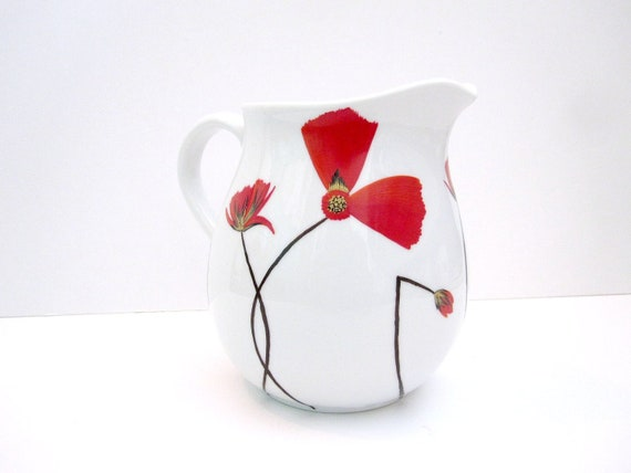 Red Poppy Porcelain Small Pitcher