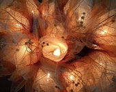 20 Ivory Fairy Lights with Autumn Leaves 4 metres