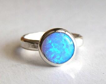 Blue Opal ring ,Fine Silver ring, Stacking ring ,Gemstone ring, teacher gift, Mom gift, gift for her, gift idea, October stone