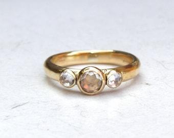 Similar diamond ring wedding ring Handmade Engagement Ring -whiteTopaz ring   - Recycled Fine 14k gold ring MADE TO ORDER