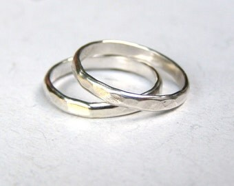 Wedding Band Set, Recycled Sterling Silver Wedding Band, Eco Friendly, Sustainable, Handmade Wedding Ring,Sterling Silver Ring MADE TO ORDER