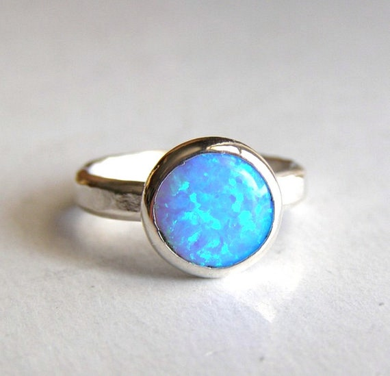 Opal ring silver ring  - Recycled silver sterling ring Made to order