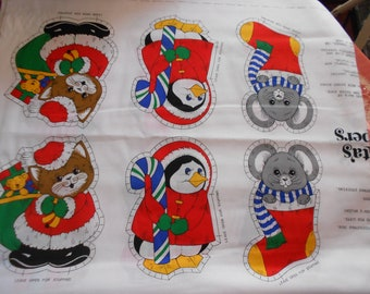Christmas Fabric Ornaments  Santas Helpers DIY Kit c1980s Animals for Christmas pillow soft toy xmas decor