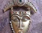 Vintage Tribal African Mask Pin