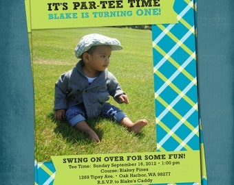 Let's Par-tee.  Preppy Golf Birthday Party Invite or Announcement  by Tipsy Graphics. Any colors and text