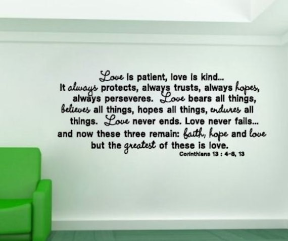 Love is Patient Love is Kind 1 Corinthians 13:4-8 Bible Verse Vinyl Wall Decal
