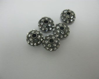 5 pcs gun metal with clear crystal roundel ball