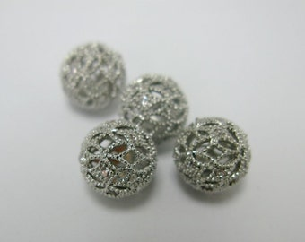 2 pcs white gold color metal with cubic zirconia filigree ball in 10mm