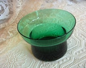 Vintage Emerald Green Glassware Candle Holder Pillar/Votive Candy Dish
