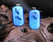Ginkgo Leaves on Sandblasted Glass - Fused Glass Jewelry