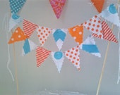 Cake topper Bunting Flags Aqua, Orange and White mini pennants decoration