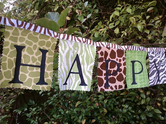 Safari Birthday Banner Fabric  and bunting flags Animal prints in Green Blue Brown Grey