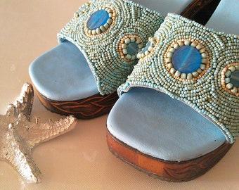 Vintage 1970s Heels // Carved Heel Beaded Shoes in blue.
