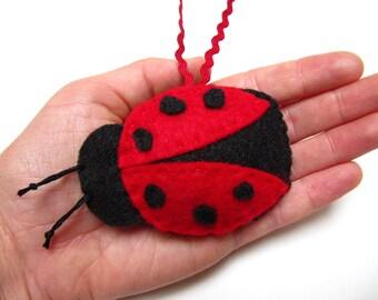 Personalized Ladybug Ornament, Felt Christmas Ornament, Personalized Christmas Ornament