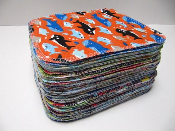 Cloth Wipes -  60 Boys Mixed Prints Set - Eco Friendly Wipes
